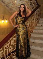 Lungo da Sera Elegante Donna Matrimonio Cocktail Pizzo Maxi Abito Taglia UK 8 -