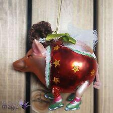Gisela Graham Flying Pig Ice Skating Skates Christmas Tree Hanging Decoration