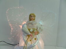 "ANGEL TREE TOP CHRISTMAS FIBER OPTIC WINGS & DRESS CHANGE COLORS 12"" TALL  NEW"