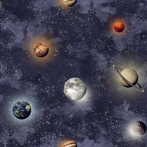 3D Kids Room Space Planets Stars Night Sky Universe children Nursery wallpaper