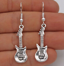 925 Silver Plated Hook - 1.9'' Punk Guitar Musical Instrument Club Earrings#61