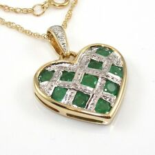 "14K Yellow Gold Natural Emerald Diamond Heart Pendant Chain Necklace 18"" ZD"