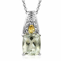 Steel Prasiolite Yellow Cubic Zirconia CZ Pendant Necklace Gift Size 20'' Ct 4.3
