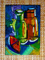 ACEO original pastel painting outsider folk art brut #010382 abstract surreal