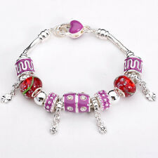XMAS European Murano Glass Beads sterling solid Silver charm Bracelet XB096 +box