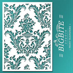 Shabby Chic STENCIL: Damask Wallpaper Pattern (DIY Furniture Print) #036