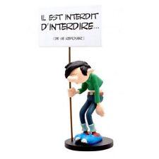 """Figurine en résine Gaston Lagaffe pancarte """"Il est interdit d'interdire"""""""