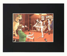 Dogs Friends Playing billiards Dope Cool 8x10 Black Matted Art Artworks Print