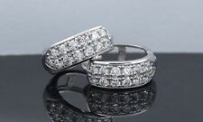 14K Solid White Gold Round Pave Huggie Created Lab Diamond Hoop Earrings