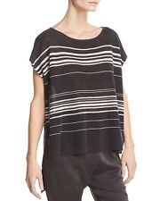 NEW EILEEN FISHER GRAPHITE FINE ORGANIC LINEN CREPE KNIT BATEAU PONCHO XL $228