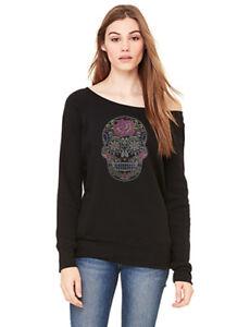 Women's Rhinestone Sugar Skull Black Wide Neck Sweatshirt C11 Day of the dead
