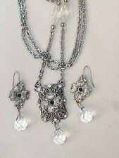 Art Nouveau Rhinestone Crystal Faceted Tear Drop Dangle Black stone Necklace Set