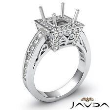 Diamond Engagement 14k White Gold Princess Semi Mount Halo Filigree Ring 1 Carat