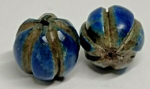 SUPERB EXTREMELY RARE TOP LOT OF 2 ANCIENT LAPIS LAZULLI BEADS