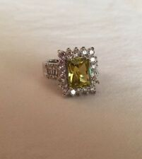 $130 12x10mm Emerald Cut Green Amethyst  White Topaz 925 Silver Size 10
