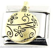 Christmas Tree Ornament Golden Bulb 9mm Italian Charm Stainless Modular Link