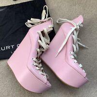Kurt Geiger London Baby Pink Fetish Lace Up Platform Heels Wedges Bondage Lolita