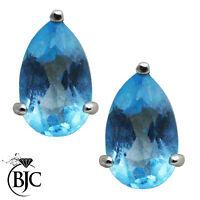 BJC® 9ct White Gold Pear Cut Blue Topaz & Diamond Stud Earrings Studs ER84