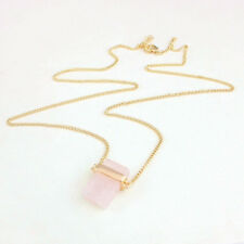 Long Chain Crystal Gold Plated Pendant Natural Stone Rose Quartz Necklace