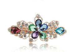 Colorful Crystal Rhinestone Flower Hair Barrette Clip Hairpin Fashion Jewelry