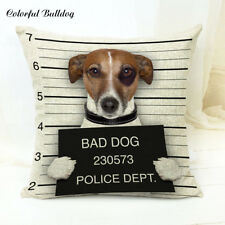Jack Russell Gifts Cushion Cover - Funny Bad Dog Jail Mug Shot Gift Present