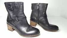 $169 size 9.5 Franco Sarto Larisa Black Leather Heel  Ankle Boots Womens Shoes