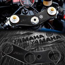 "Handle Bar Yoke Cover+6"" Logo+Emblem Sticker for 06-16 YZF R6 Perforated Black"