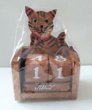 Collectable  wooden perpetual Cat calendar, dark wood, New