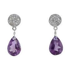 Castellano Jewels Pendientes con Amatistas y Cristal de Swarovski Plata 925