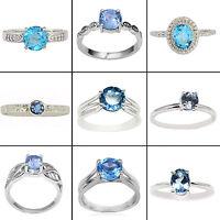 Blue Topaz 925 Sterling Silver Ring Women Band Beautiful Jewellery SJR373-PAR