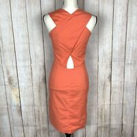 NWT Piazza Sempione Sz 38 (US 2) Sheath Dress Peach Cross Back Side Pocket Lined