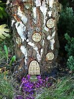 GOLD Garden Fairy Door House Tree Set