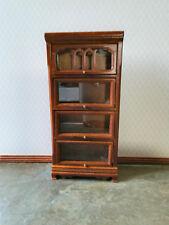 Dollhouse Miniature 4 Shelf Barrister Lawyers Bookcase Walnut Finish 1:12 Scale