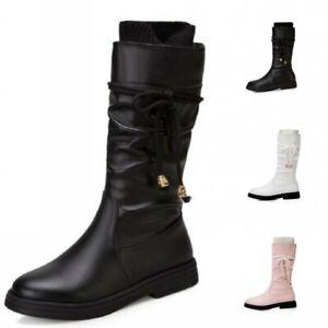 New Women Ladies Outdoor Mid Calf Boots  Flats Round Toe Bowknot Winter Autumn D