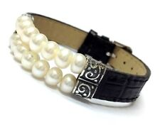New Honor Style Wht Pearl Black Leather 925 STERLING SILVER Bracelet K43229-Blk