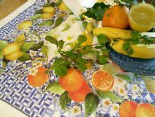 TOVAGLIA IN PURO LINO COPRITAVOLO CUCINA limoni, arance, agrumi motivi bluette
