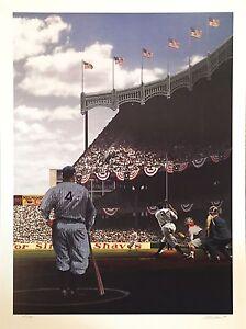 Babe Ruth Lou Gehrig Yankee Stadium 1927 Litho WS Signed Bill Purdom /634 18x24