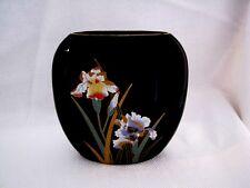 Otagiri Japan Crown Iris Vase - Black Gold Green Blue Yellow Red