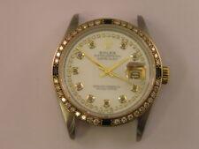 Vintage Rolex Watch 16013 Custom MOP Diamond Dial Diamond & Sapphire Bezel 3035