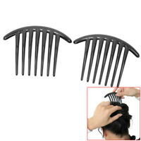 2Pcs Women Girls' Black Plastic Side Clips Comb French Twist Hair Accessory Gift