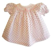 "Pink Polka Dot Smocked Dress Embroidered Flower Bitty Baby 15"" Doll"