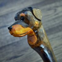 Unique Wooden Walking Stick Cane Hiking Staff hand carved Handmade - Rottweiler