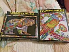 2 White Mountain Flip & Color Puzzles 300 Extra Lge Pcs New Sealed:Parrot & Bear