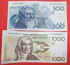 2 Belgium banknotes, 500 & 1000 Francs, 1980 - 1996 series, Belgique Bank Frank