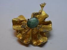 RARE ART Co Motion Jelly Belly Frog & Lily Pad Pin Brooch Gold Tone ADORABLE!