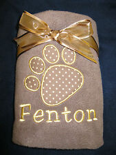 Personalised Embroidered Pet Dog Puppy Cat Kitten Fleece Blanket with pets name