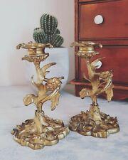 More details for antique french candlesticks, gilt bronze candle stand, art nouveau candlesticks