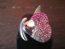 atemberaubender Statement Designer Ring 925er Silber Fisch Pink Glitzer Pavée