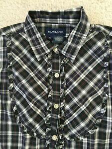 $65 NWT RALPH Lauren longsleeves plaid shirt Holiday 12 Ruffle Top LOGO Girls