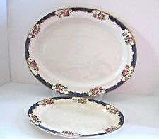 "2 Booths Platters Large and Small, Pink Roses ""Sevres"""